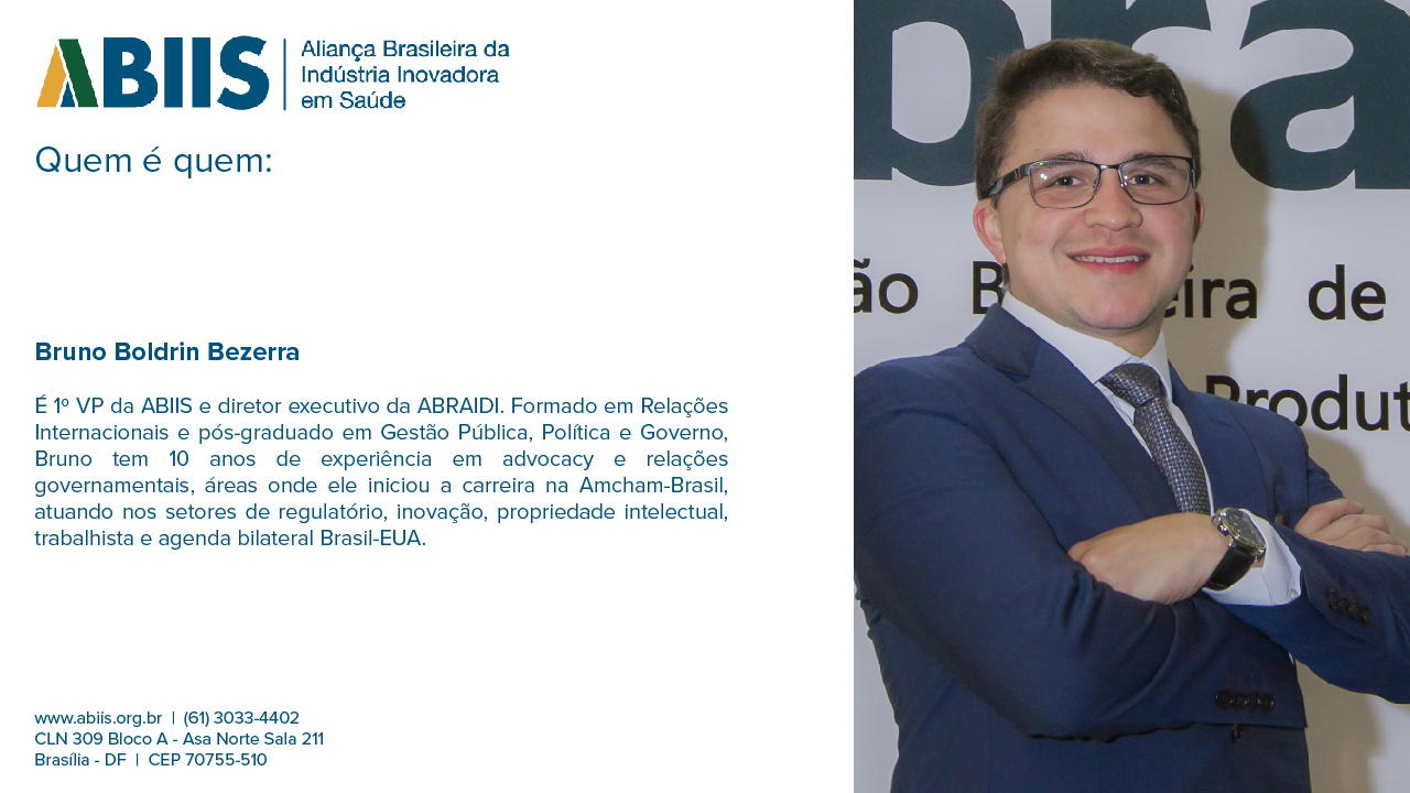 Perfil do 1º VP da ABIIS, Bruno Boldrin