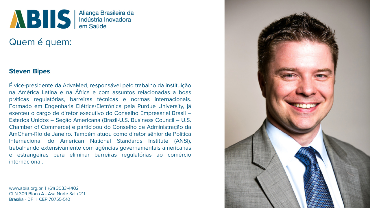 Perfil do vice-presidente da AdvaMed, Steven Bipes